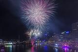 Australia, Sydney, Darling Harbor, Fireworks Photographic Print by Walter Bibikow