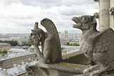 Europe, France, Paris. Two Gargoyles on the Notre Dame Cathedral Photographic Print by Charles Sleicher