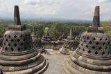 Borobudur, Java, Indonesia. Stupas Near Top of the Borobudur Temple Photographic Print by Charles Cecil