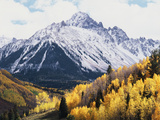 Colorado, San Juan Mts, Fall Colors of Aspens Below Mount Sneffels Photographic Print by Christopher Talbot Frank