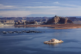Arizona, Lake Powell and Houseboats at Wahweap Marina Photographic Print by David Wall