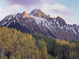 Colorado, San Juan Mts, Fall Colors of Aspen Trees and Mount Sneffels Photographic Print by Christopher Talbot Frank