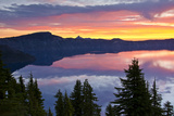 Crater Lake at Sunrise, Crater Lake National Park, Oregon, USA Photographic Print by Michel Hersen
