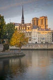 Sunrise over Cathedral Notre Dame and Ile De La Cite, Paris, France Photographic Print by Brian Jannsen