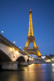 Twilight Below the Eiffel Tower and Pont Diena, Paris, France Photographic Print by Brian Jannsen