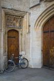 Bicycle in Front of Doors, Oxford University, Oxfordshire, England Lámina fotográfica por Brian Jannsen