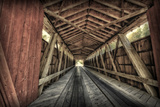 USA, Indiana, Carroll County. Lancaster Covered Bridge Photographic Print by Rona Schwarz