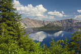Morning, Crater Lake and Wizard Island, Crater Lake National Park, Oregon, USA Photographic Print by Michel Hersen