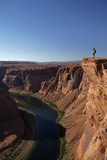 Arizona, Tourists at Overlook to the Colorado River at Horseshoe Bend Photographic Print by David Wall