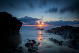 Sunset over the Rocks,Cornish Coast Near Newquay, Cornwall, England Photographic Print by Brian Jannsen