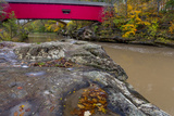 Narrow Covered Bridge over Sugar Creek in Parke County, Indiana, USA Photographic Print by Chuck Haney