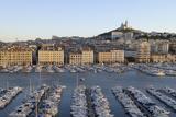 France, Marseille. Vieux Port with Basilique Notre Dame De La Garde Photographic Print by Kevin Oke