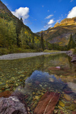 Mcdonald Creek in Autumn with Garden Wall in Glacier National Park, Montana, USA Photographic Print by Chuck Haney