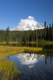 Wa, Mount Rainier National Park, Mount Rainier Reflected in Reflection Lake Photographic Print by Jamie And Judy Wild