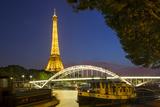 Twilight Below the Eiffel Tower Along River Seine, Paris, France Photographic Print by Brian Jannsen