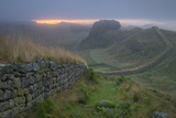 Dawn at Hadrians Wall Near Housesteads, Northumberland, England Photographic Print by Brian Jannsen