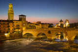 Ponte Pietra over River Adige with Cathedral Anastasia, Veneto, Italy Photographic Print by Brian Jannsen