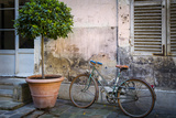 Bicycle Parked Along Ancient Wall, Paris, France Photographic Print by Brian Jannsen