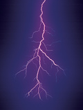 Lightning Discharge. Tucson, Arizona. Digitally Altered Sky Photographic Print by Thomas Wiewandt