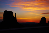 Navajo Nation, Sunrise over West and East Mitten, Monument Valley Photographic Print by David Wall