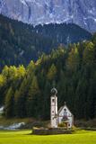 Saint Johann Church Below the Geisler Spitzen, Val Di Funes, Italy Photographic Print by Brian Jannsen