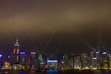 China, Hong Kong, Night Laser Show on Hong Kong Waterfront Photographic Print by Terry Eggers