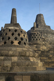 Borobudur, Java, Indonesia. Three Small Stupas, Approach Nirvana Photographic Print by Charles Cecil