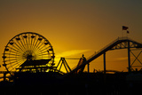 Los Angeles, Santa Monica, Ferris Wheel and Roller Coaster at Sunset Photographic Print by David Wall