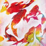 Bassin et carpes koi Affiche par Liz Jardine