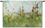 Holyhocks By The Sea Wall Tapestry by Cheri Blum