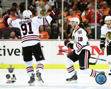 Brad Richards & Jonathan Toews Celebrate Game 7 of the 2015 Western Conference Finals Photo