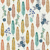 Seamless Pattern with Feathers with American Folk Style Prints by Tatsiana Tsyhanova