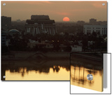 Baghdad and the Tigris River at Sunset Poster by Lynn Abercrombie