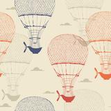 Retro Seamless Travel Pattern of Balloons Prints by Tatsiana Tsyhanova