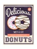 Vector Vintage Styled Donuts Poster Print by  Marvid