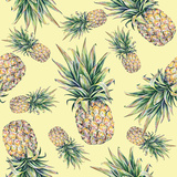 Pineapple on a Yellow Background. Seamless Pattern Prints by  MargaritaSh
