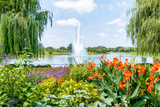 He Fountain in the Chicago Botanic Garden, USA Photographic Print by  elesi