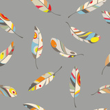 Pattern of Colored Feathers on Gray Background Print by  molokot