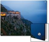 The Simonos Petras Monastery 800 Feet Above the Aegean Sea Posters by Travis Dove