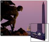 Iwo Jima Memorial with Capitol Building and Washington Monument, Washington, D.C. Art by Kenneth Garrett