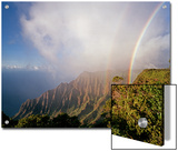 An Iridescent Double Rainbow Arcs over the Kalalau Valley Poster by Diane & Len Cook & Jenshel