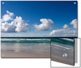 Gentle Waves and Surf Surging onto a Flat Beach under Puffy Clouds Prints by Charles Kogod