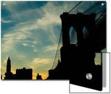 Skyward View of the Brooklyn Bridge Silhouetted Against a Blue Sky Posters by Todd Gipstein