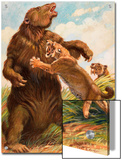 Slow Megatherium Was No Match for the Saber Tooth Tiger Prints by Charles Knight