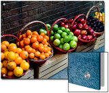 Six Baskets of Assorted Fresh Fruit for Sale at a Siena Market, Tuscany, Italy Prints by Todd Gipstein