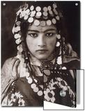 An Algerian Girl Wears a Dowry of Gold Coins Print by  Lehnert & Landrock