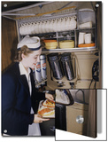Flight Attendant Sets Up a Passengers Meal on United Airlines Art by Luis Marden