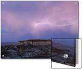 Lightning Strikes Above a Butte in Adobe Town in Wyoming's Red Desert Posters by Joel Sartore