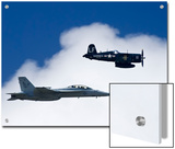 Navy F-18 and a WWII Vintage F4U Corsair at the Nas Oceana Airshow Posters by Medford Taylor