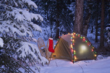A Tent Is Set Up in the Woods with Christmas Lights and Stocking Near Anchorage, Alaska Reproduction photographique par  Design Pics Inc